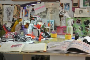 Penny Mateer's studio so many ideas deadline is looming